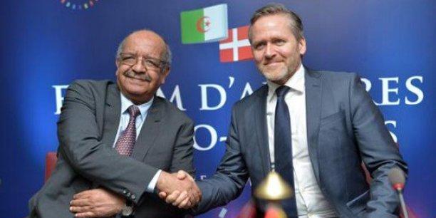 Les ministres des Affaires étrangères Abdelkader Messahel et Anders Samuelsen, lors du forum d'affaires algéro-danois, le 6 mars 2018 à Alger.