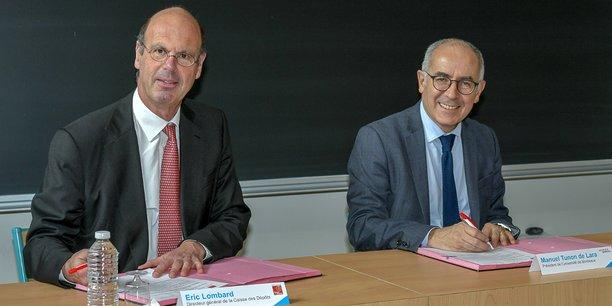 Eric Lombard, le directeur général de la Caisse des dépôts, et Manuel Tunon de Lara, le président de l'Université de Bordeaux, le 19 mars à Talence.