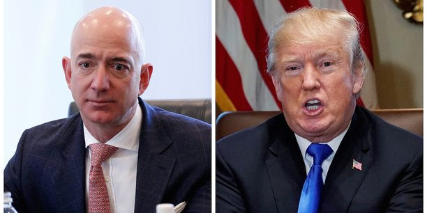Jeff Bezos, patron d'Amazon, et Donald Trump.