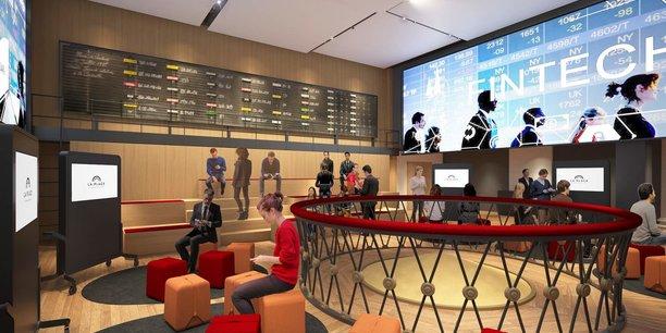 La Place a l'ambition de devenir le lieu d'échanges des acteurs de l'innovation dans la finance, au deuxième étage du Palais Brongniart, autour de la fameuse corbeille de la Bourse de Paris devenue pièce de musée (image de synthèse).