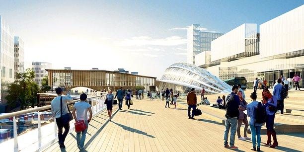 A Saint-Denis, un grand pont reliera la future gare du Grand Paris Express à celle du RER D, enjambant les voies ferrées du nord de Paris. C'est le projet de l'architecte Marc Mimram, largement destiné aux piétons, qui a été retenu.