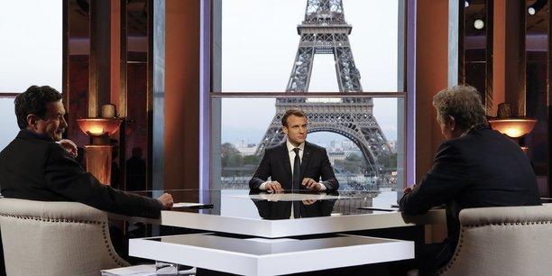 Emmanuel Macron interviewé le 15 avril par Jean-Jacques Bourdin et Edwy Plenel au Palais de Chaillot.