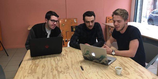Thibault Descombes (à droite), en compagnie de l'autre cofondateur Florian Garibal (au centre), mettent en pause Flybot et lancent le projet Bettr.