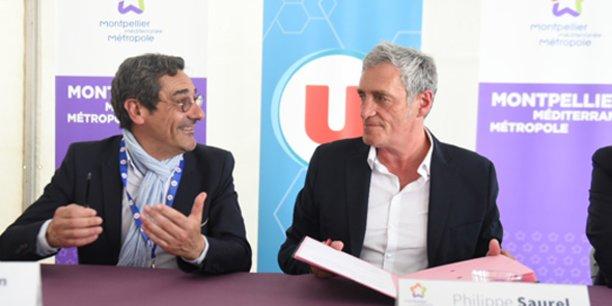 Serge Papin, P-dg de Système U, et Philippe Saurel, président de Montpellier Méditerranée Métropole.