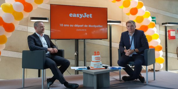 E. Brehmer (AMM) et R. Otten (Easyjet) fête le 10e anniversaire de la compagnie aérienne à Montpellier