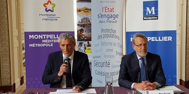 Philippe Saurel et Pierre Pouëssel ont signé les contrats financiers entre l'Etat, la Ville et la Métropole de Montpellier le 23 mai 2018.
