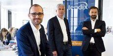 Olivier Goy, le fondateur et président du directoire de Lendix, aux côtés des autres dirigeants de la plateforme de prêts participatifs aux PME, Marc Sebag, directeur crédit, Patrick de Nonneville, directeur opérationnel.