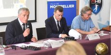 Le maire Philippe Saurel, aux côtés de Rémy Lévy et Serge Granger, coprésidents du MHB