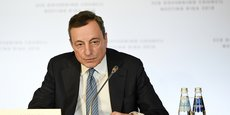Le président de la BCE, Mario Draghi, lors de la conférence de presse à Riga, ce jeudi.