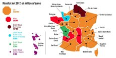 Le groupe Crédit Mutuel est aujourd'hui découpé en six groupes régionaux, dont Arkéa en rouge.