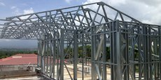 Vue d'une ossature acier léger pour la construction d'une maison .