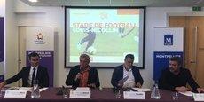 Christophe Perez (SERM/SA3M), Philippe Saurel (M3M), Laurent Nicollin (président du MHSC) et Olivier Nicollin (président du groupe Nicollin).