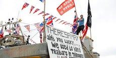 Manifestation de pêcheurs, pro-Brexit, contre l'accord de transition de la Première ministre Theresa May.