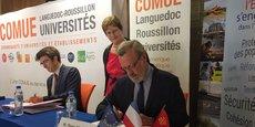 G. Halbout (Comue LR), B. Gille (rectrice) et P. Pouëssel (préfet de l'Hérault), signent une nouvelle convention pour l'accueil au SAI
