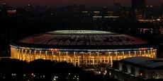 Le stade Luzhniki de Moscou, déjà illuminé aux couleurs de la finale du Mondial, qui aura lieu ce dimanche. Les Bleus, auteurs d'un solide parcours, y affronteront la Croatie.