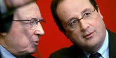 Jacques Delors et François Hollande en 2005. Copyright AFP