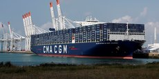 Le nouveau porte-conteneurs Antoine de Saint-Exupery lors de l'inauguration au port du Havre, le 5 septembre.