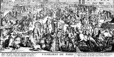 « Le Pont-Neuf vu du côté de la rue Dauphine », Nicolas Guérard (1715). Cette gravure donne à voir la diversité des moyens de déplacement des citadins au Siècle des Lumières : au premier plan, on distingue deux carrosses, une chaise à porteurs, des cavaliers, une charrette. Il est significatif que l'auteur ait tenu à représenter cette scène d'embarras sur l'une de ses artères les plus modernes équipées de trottoirs.  BNF