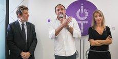 Jacques Oberti le président du Sicoval, Ludovic Le Moan, à la tête de Sigfox et de l'IOT Valley et Nadia Pellefigue, vice-présidente de la Région en charge notamment du développement économique et de l'innovation.