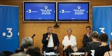 Carlos Bélinchon, directeur de France 3 Midi-Pyrénées, Laure Cornéjo, directrice déléguée à l'antenne et aux programmes et Nicolas Albrand, rédacteur en chef adjoint lors de présentation de la grille de rentrée le 11 septembre dernier.