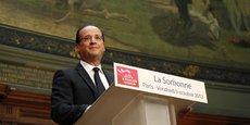 François Hollande, le 5 octobre 2012, présentant les grandes lignes de la réforme des collectivités locales, qui sera l'objet début 2013 d'une loi de décentralisation appelée à clarifier le rôle de chacun au sein du mille-feuille territorial français.
