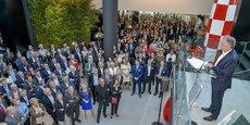 Nicolas Leroy Fleuriot, PDG de Cheops Technology, lors de l'inauguration de son nouveau siège social l'an dernier et dont le groupe sort grand vainqueur du rallye boursier 2018.