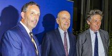 Joseph DaGrosa, Alain Juppé et Nicolas de Tavernost à leur sortie de l'audition par les élus du patron de GACP hier à Bordeaux Métropole.
