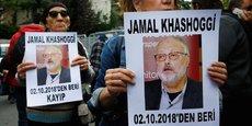 Des activistes des droits de l'Homme manifestent après la disparition du journaliste saoudien Jamal Khashoggi, qui s'était rendu à l'ambassade de l'Arabie Saoudite en Turquie.