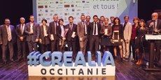 L'équipe de Créalia Occitanie, entourée des lauréats et partenaires des derniers Trophées des Partenaires de l'Innovation