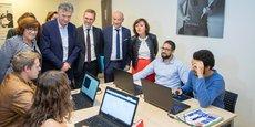 L. Schlosser (Microsoft), avec C. Delga (Région), F. Lafforgue (Castelnau) et les autres officiels, accueillent la 1e promotion d'IA-Microsoft