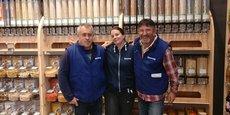 Christophe Jacob, Diane Rival et Raymond Bayol, porteurs du projet de magasin Biocoop à La Brède