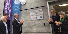 Inauguration du bio-incubateur Cyborg, au CHU de Montpellier, le 7 novembre 2018 : Patrice Taourel (président de CME du CHU de Montpellier), Pr Christian Jorgensen (directeur de l'IRMB), Thomas Le Ludec (directeur du CHU de Montpellier), Pierre Pouëssel (préfet de l'Hérault) et Chantal Marion (vice-présidente de Montpellier Méditerranée Métropole).