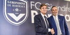 Frédéric Longuépée, nouveau président des Girondins de Bordeaux, et Joe DaGrosa, le nouveau propriétaire.