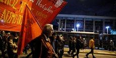 HEURTS ENTRE JEUNES ET POLICIERS APRÈS UNE MANIFESTATION À ATHÈNES