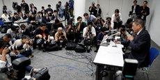 Hiroto Saikawa, le patron de Nissan, hier lundi, lors de la conférence de presse au cours de laquelle il a porté des accusations de malversations financières à l'encontre de son Pdg, Carlos Ghosn.