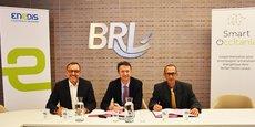 Didier Colin, directeur territorial d'Enedis dans le Gard, Jean-François Blanchet, directeur général du Groupe BRL, et Thierry Lafont, d'ACTIA Télécom.