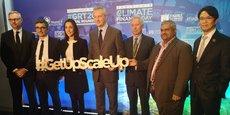 Bruno Le Maire à l'événement sur la finance climat ce lundi, entouré de Brune Poirson, secrétaire auprès du ministre de la Transition écologique et solidaire, et d'Arnaud de Bresson, délégué général de Paris Europlace.