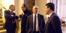 Les dirigeants des quatre grands opérateurs français se sont retrouvés aux vœux de l'Arcep, le régulateur des télécoms, à La Sorbonne, en janvier dernier. De gauche à droite : Alain Weill (PDG d'Altice France), Xavier Niel (propriétaire d'Iliad), Stéphane Richard (PDG d'Orange), et Olivier Roussat (PDG de Bouygues Telecom).