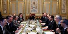 La réunion à l'Elysée ce mardi des principaux patrons de groupes bancaires français.