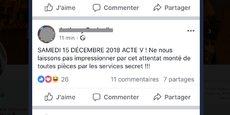 Sur le compte Twitter de certains Gilets jaunes, de nombreux posts évoquent une « manipulation » de l'Etat ou un « attentat » qui « tombe bien » concernant la fusillade de Strasbourg.
