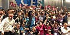 La communauté French Tech au CES 2018 avec les startups, Mounir Mahjoubi, secrétaire d'état et Pascal Cagni Ambassadeur aux investissements internationaux et président de Business France.