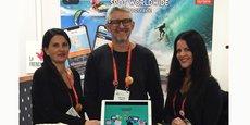 Philippe Sirech, champion du monde de wakeboard et éditeur d'un magazine spécialisé, et Sophie  Combettes-Sirech, cofondateurs de Spotyride à Montpellier, aux côté de Vicki, commerciale aux Etats-Unis, sur le CES 2019 de Las Vegas.