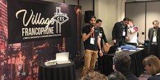 Adrien Content, président de Koovea, lors d'un concours de pitch organisé par le Village francophone au CES de Las Vegas