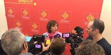 Carole Delga, lors des vœux adressés à la presse
