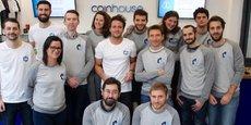 L'équipe de Coinhouse, qui emploie une trentaine de personnes, ici dans la boutique au centre de Paris, l'ex-Maison du Bitcoin, ouverte au printemps 2014.