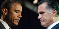 Barak Obama et Mitt Romney. /Copyright Reuters