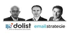 Jean-Paul Lieux et Denis Olivier, cofondateurs de Dolist et Frédéric Buron, fondateur d'EmailStrategie