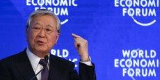 Hiroaki Nakanishi, président de Hitachi, au Forum économique mondial (WEF), à Davos, le 18 janvier 2019.