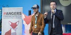Angers a accueilli en octobre 2017 le World Electronic Forum, rappelle volontiers le maire, Christophe Béchu (à droite avec le youtuber Amixen).