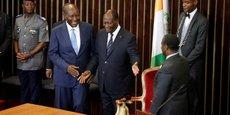 (De g. à d., premier plan) Daniel Kablan Duncan, vice-président de la Côte d'Ivoire ; Alassane Ouattara, le président ivoirien ; et Guillaume Soro, président de l'Assemblée, le mardi 10 janvier 2017 au siège de l'Assemblée nationale ivoirienne.